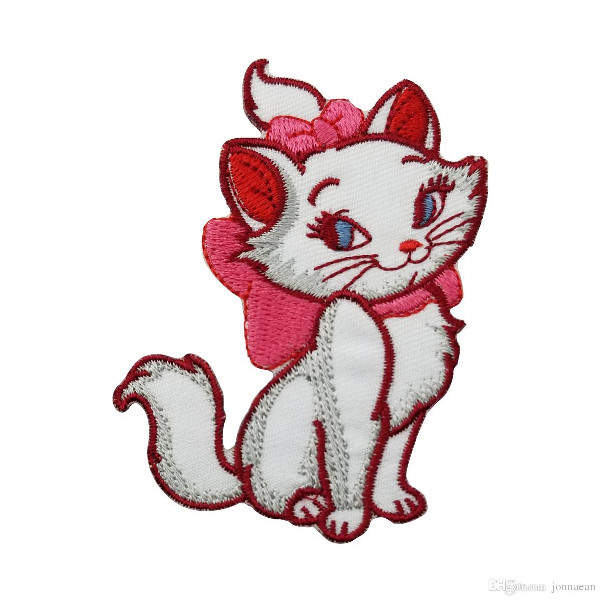 Özel Karikatür Sevimli Kedi Nakış Dikiş Demir On Patch Rozeti Giysi Kumaş Transferler Dantel Trim Aplike