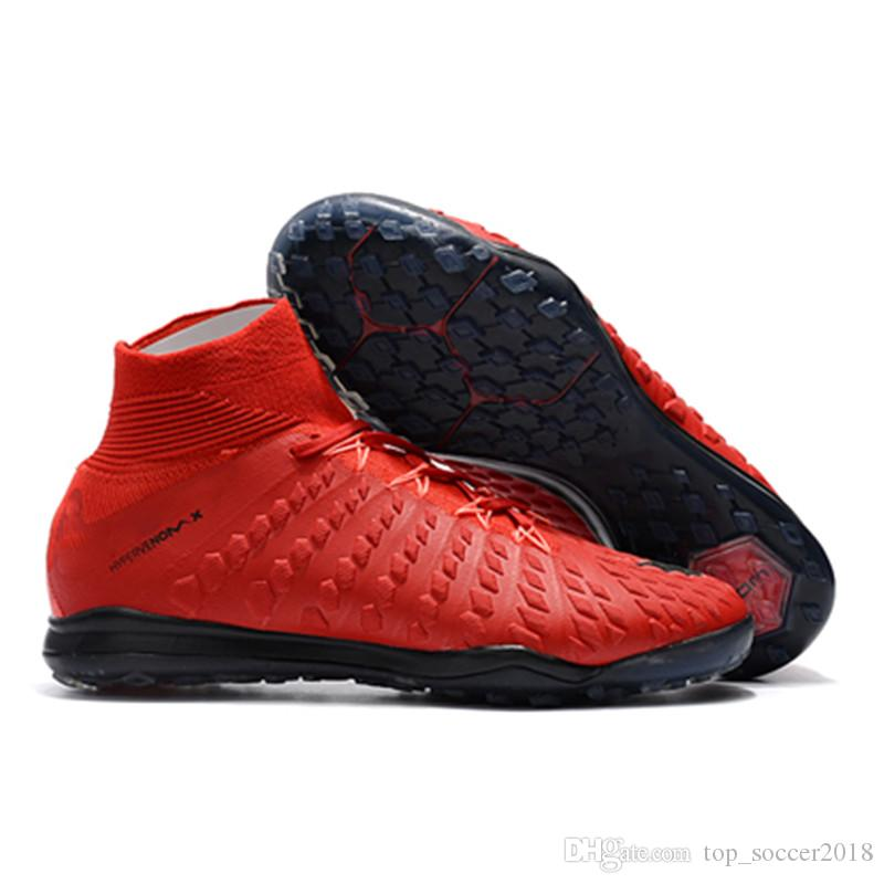 2018 Red Black Soccer Cleats 100% Original HypervenomX Proximo II DF TF Turf Neymar JR Mens Indoor Soccer Shoes Best Quality Football Boots