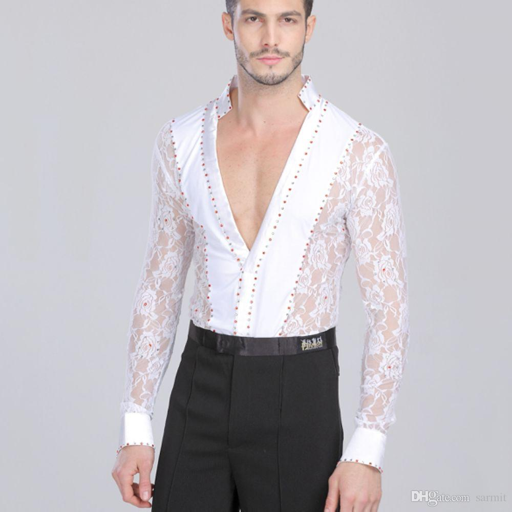 Latin Dance Shirts Lace Jumpsuit Men Boy Latina CHEAPEST CAD088 Adult Children Dance Top Shirt Romper White Black Long Sleeve Rhinestones