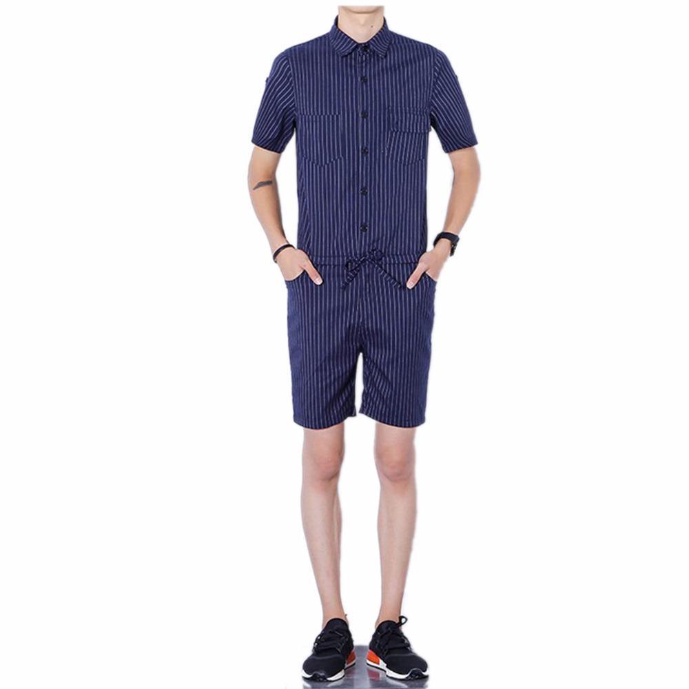 a463c8d4341e 2019 Big Yard 4XL Men Short Pants Jumpsuit 2018 Autumn New Men S Cotton  Male One Piece Overalls Romper Slim Stripe Trouser Black Blue From  Dreamcloth