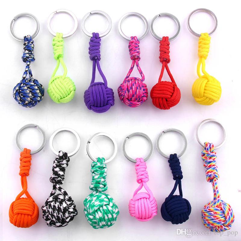 Keychain Outdoor self defense Field Emergency Survival Kit Key Rings Seven Core Umbrella Hand Woven Keychain With Steel Ball XL-645