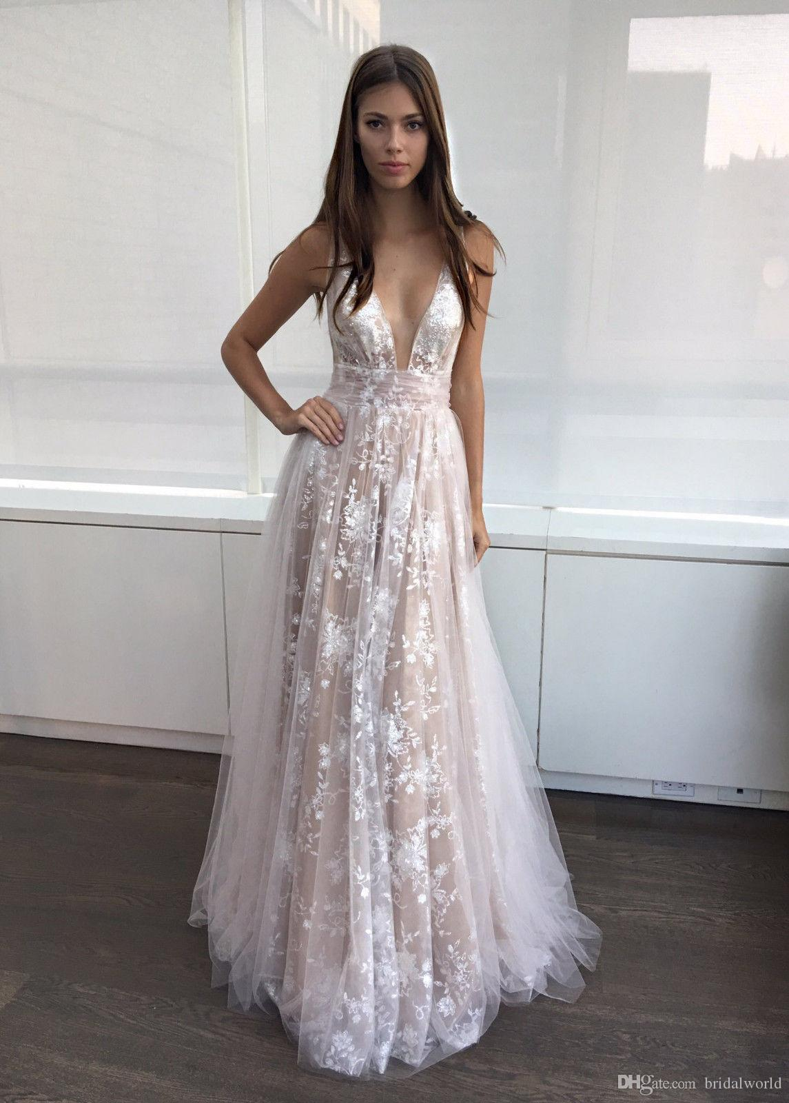 734c2b81aa Sexy Evening Dresses Plunging Neck Lace Prom Dress with V Back Formal Dress  A-line White Lace Champagne Custom Sexy Evening Dresses Plunging Neck Lace  Prom ...