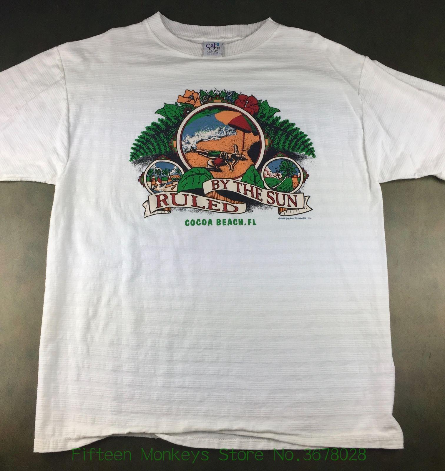 4bbc942b43fa Print T Shirt O Neck Short Vintage Mens Xl 1996 Cocoa Beach Florida Ruled  By Sun Beach Vacation T Shirt Funny Tee T Shirt Buy From  Fifteenmonkeysstore