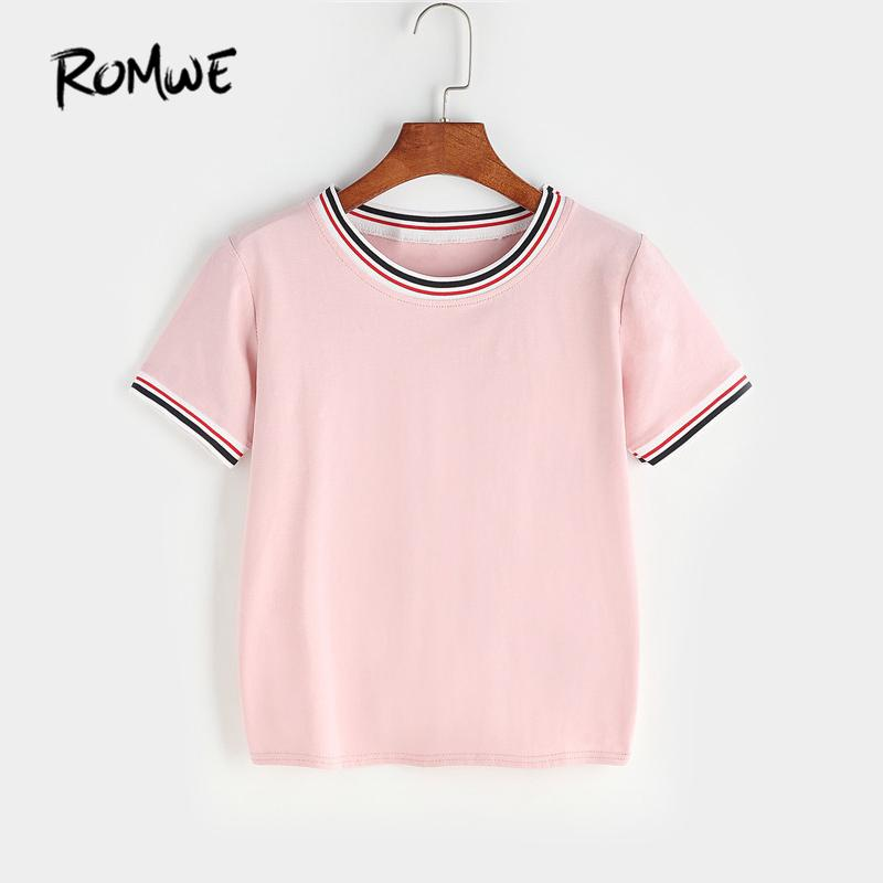 17f6d1e416 ROMWE Womens T shirts 2018 Contrast Striped Trim Tee Shirt Pink T shirts  Women 2018 Summer Short Sleeve Women's Tops