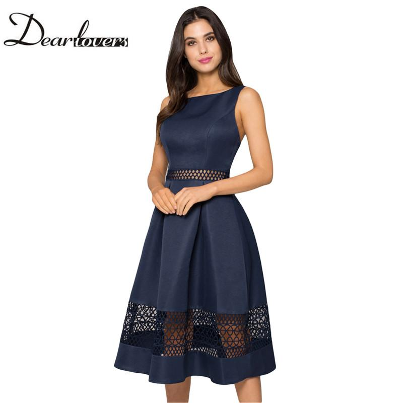 1d6db648fe 2019 Dear Lovers 2018 Elegant Women Skater Dress Navy Blue Crochet Detail  Sleeveless Midi Dress LC610310 From Pileilang