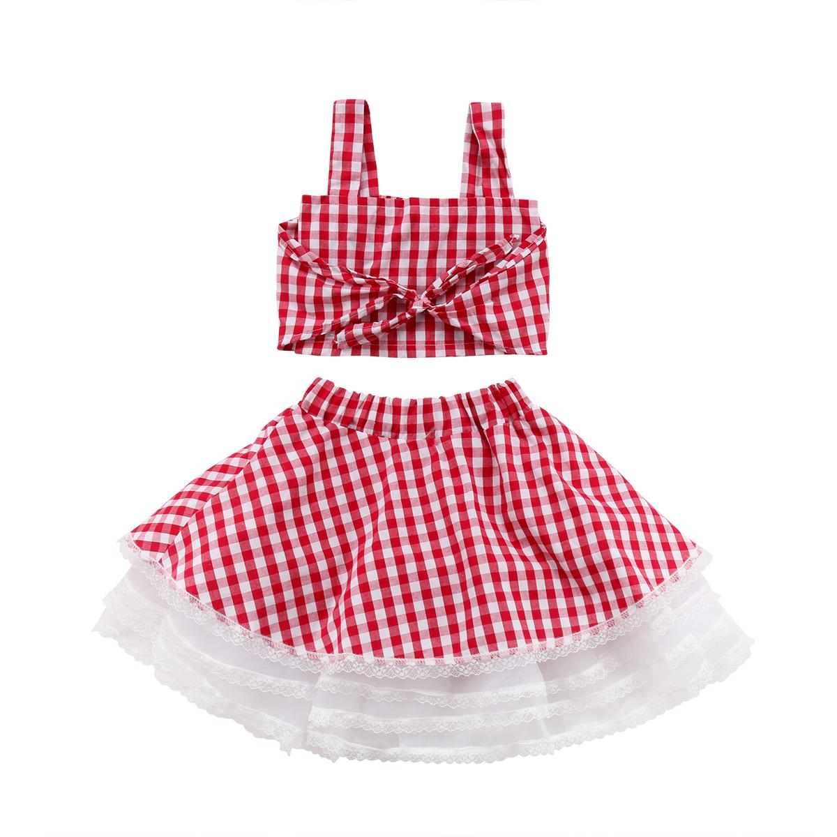 f915c958ab2 2019 Lace Kids Baby Girls Sleeveless Plaid Crop Tops Tank Tops Tulle Tutu  Skirt Princess Party Outfits Clothes Baby Girl 1 6T From Redeye, $33.43 |  DHgate.