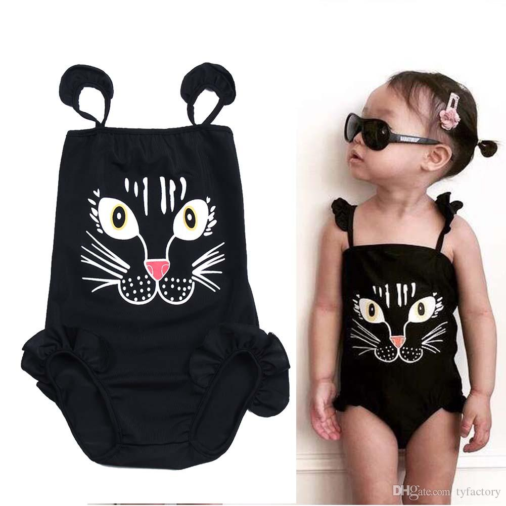 5306ab8a05 Summer Boutique Kids Baby Girls Cartoon Cat One-Piece Black Swimwear ...
