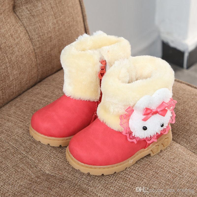 398568c25 Winter Girls Boots Warm Cotton With Cartoon Rabbit Lace Kids Boots Fashion  Snow Boots Children Winter Shoes Toddler Girl Hot products