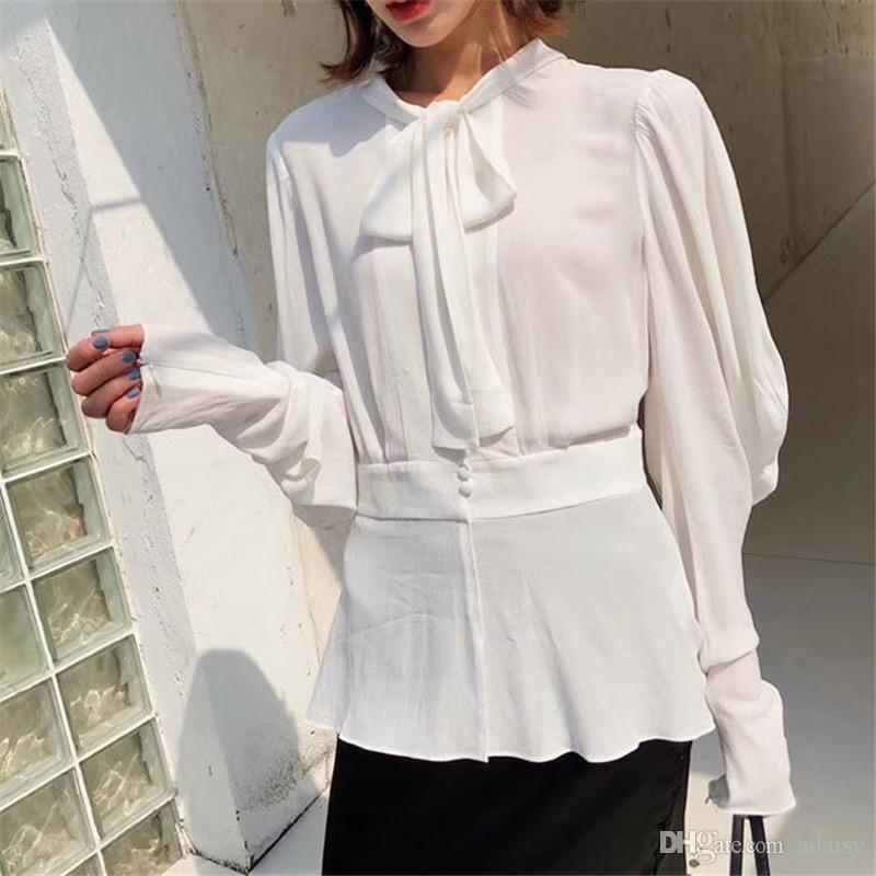 2018 Summer New Women Casual Button Long Sleeve Fashion Bow Shirt Blouses & Shirts