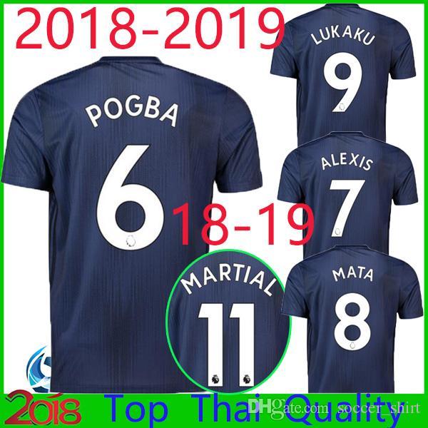 554df941d 18 19 LUKAKU POGBA Man Third Soccer Jerseys 2018 2019 UTD MATIC ...