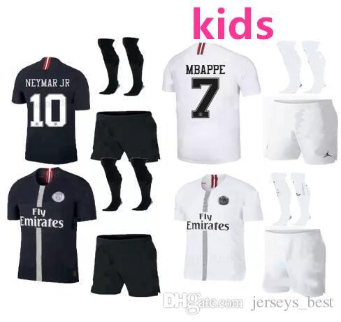 0ce26739f744 2019 2018 Psg Kids Kit Jersey 18 19 Champions League MBAPPE Black White  CAVANI VERRATTI TRACKSUIT MARIA Jordam Soccer Jerseys Paris Maillot From ...