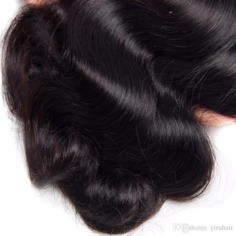 9A Brezilyalı İnsan Saç Uzantıları 10 Adet / grup Toptan 10 Paketler Vücut Dalga 8-28 inç Doğal Renk Örgüleri Saç Atkılar 10 adet / grup