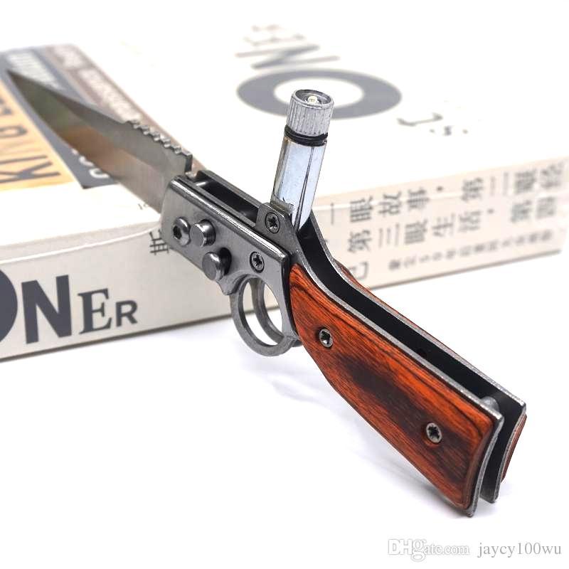 Küçük AK47 Tabanca Bıçak Çelik Bıçak Ahşap Kolu Ordu Cep Katlanır Bıçak Taktik Kamp Açık Havada EDC Aracı Survival Bıçaklar Ile LED ışık