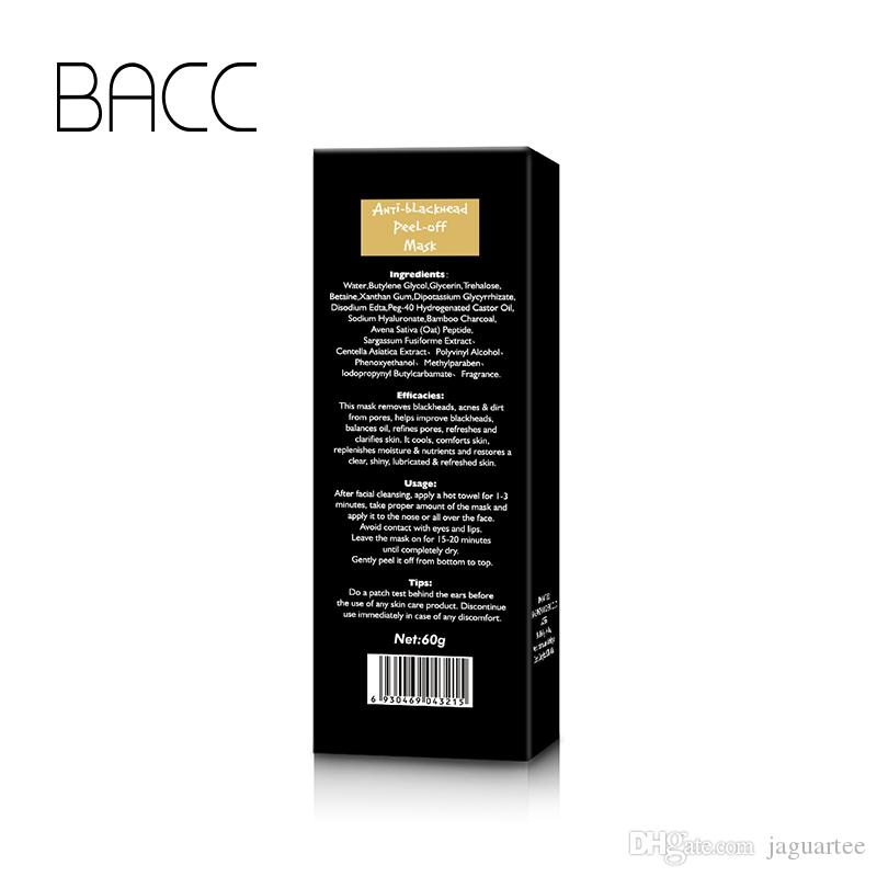 BACC Blackheads removers black Suction Mask collagen facialpilaten 50ml BACC Cleansing purifying peel off Black face Peel Masks
