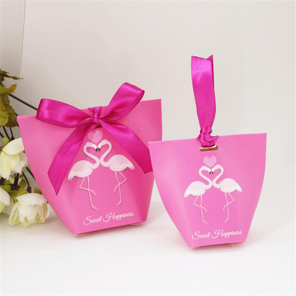 Flamingo Gift Box Candy Pattern Kraft Paper Wedding/Party Favors ...