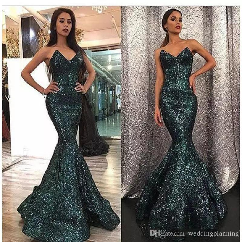 2018 Curved Sequins Dubai Prom Dress Mermaid Sweetheart Neck Hunter Color Sweep Train Arabic Prom Gowns abendkleider