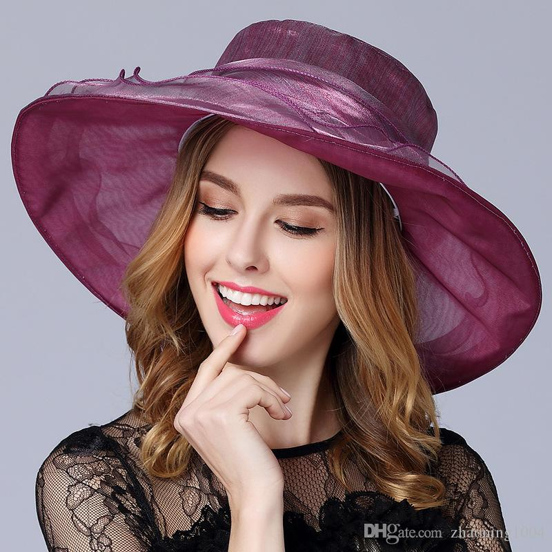 Designer Womens Church Hats Kentucky Derby Organza Ladies Hat Female Summer  Caps Lady Dress Wedding Elegant Orgabza Hats Races For Sale Wholesale Hats  ... 4bc0240b89d