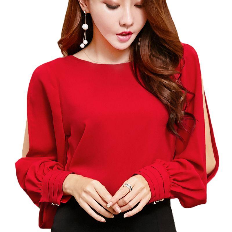 2156a7b8d Compre Elegante Oficina Señoras Blusas Mujeres Tops Manga Linterna Camisas  Rojas Mujer Blusa De Gasa Mujeres Tops Invierno Otoño Blusa Camisa A  33.97  Del ...