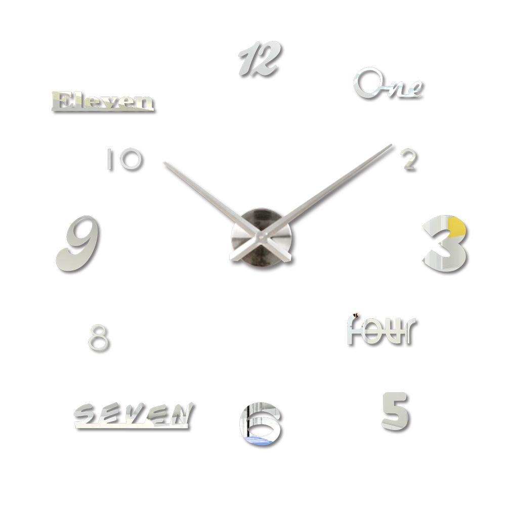 Creative Diy Wall Clock Set Acrylic Numbers Letters Quartz Watch ...