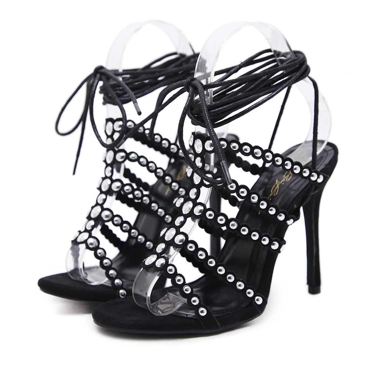 892778f2087e7 New Fashionl Women High Heel Open Toe Rivet Gladiator Catwalk Show ...