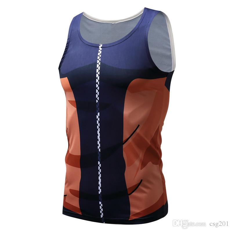 Gymnastik-Kompression Tank Tops Dragon Ball 3D T-Shirts gedruckt Ärmelloses Vegeta Weste Singlet Tanktop Goku Cosplay Wear Plus Größe