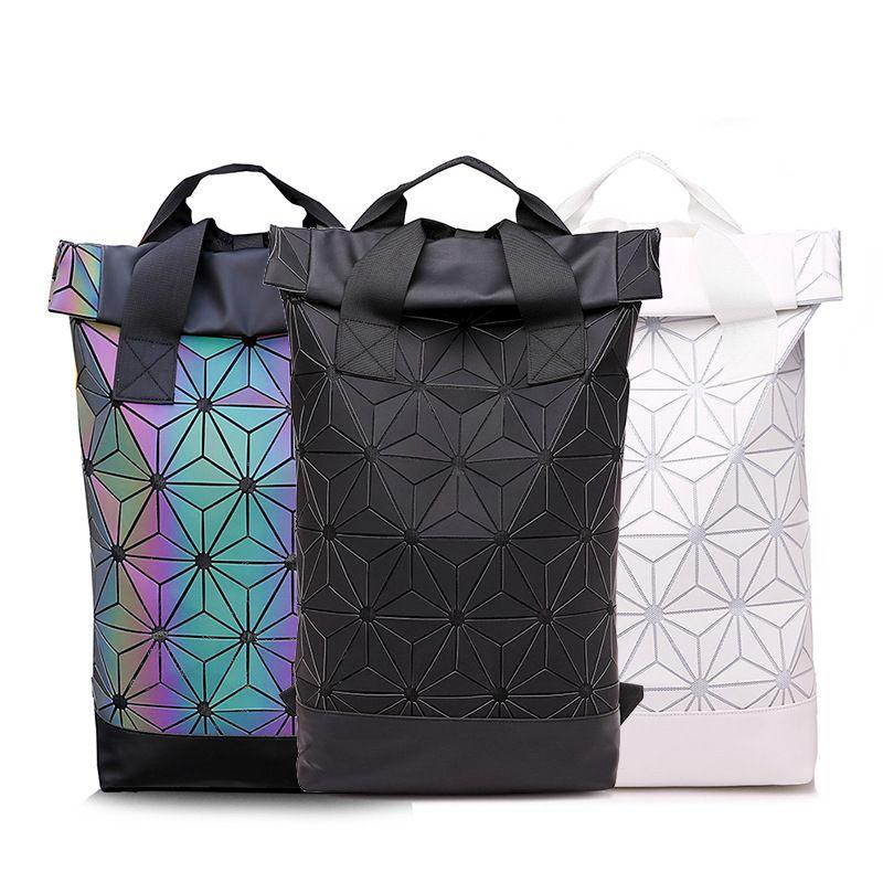 e6b9f10077d0 Luminous Backpack Diamond Lattice Bag Men Travel Laptop Backpacks Geometric  Women School Bag Teenage Girl Noctilucent Backpack