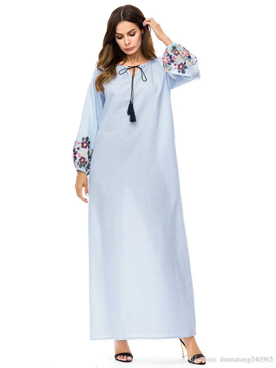 3ddcade67f70 Acquista Abaya Donne Banda Turca Abito Musulmano Bella Ricamo Abito  Islamico Le Donne Veste Dubai Abito Musulmano Islamico Arabia Sundress Plus  Size A ...