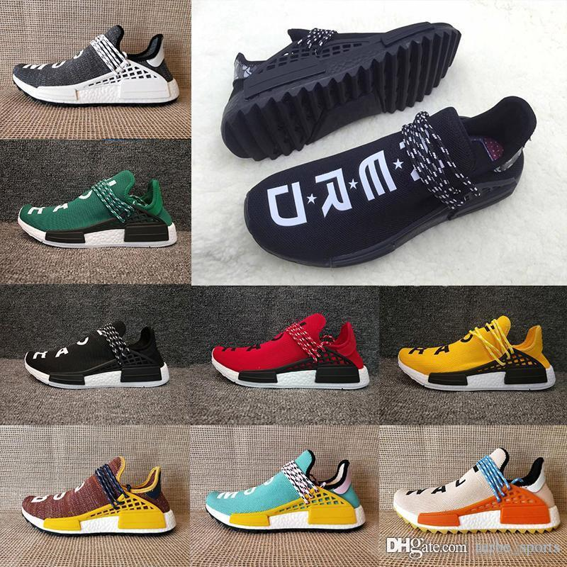 b8a6857a9 2018 Pharrell Williams HUMAN RACE In Yellow Red Black Blue Grey Green White Men  Women Running Shoes Sport Shoes Sneakers Size Eur 36 45 Racing Shoes Good  ...