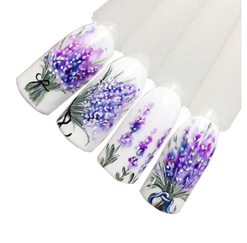 Nail Art Make Up Beauty 1pc Lavender Design Nail Art Foil Stickers Transfer  Decal Tips Manicure Nails Decoration 2018 oct19