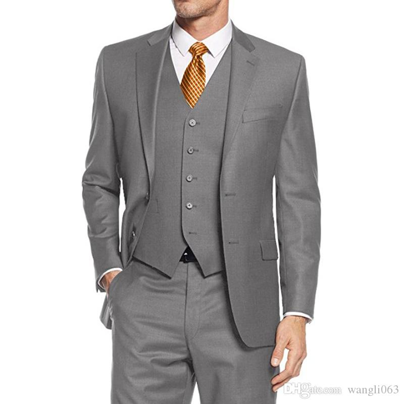 Three Piece Gray Groom Tuxedos for Wedding Notched Lapel Classic Fit Custom Made Business Party Men Suits Jacket Pants Vest
