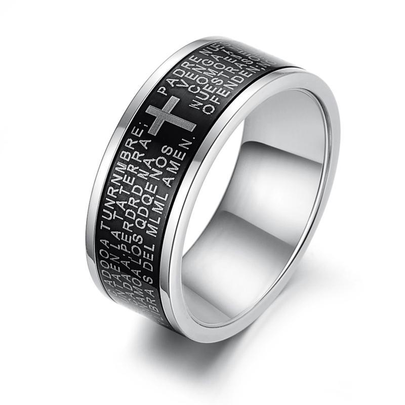 Cool Black Cross Bible Verses Pattern Titanium Steel Ring Unique