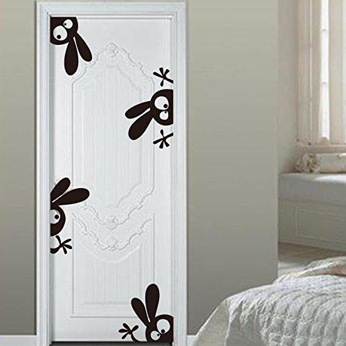 Peeping Peeking Funny Rabbits Wall Sticker Decal For Doors Bathroom