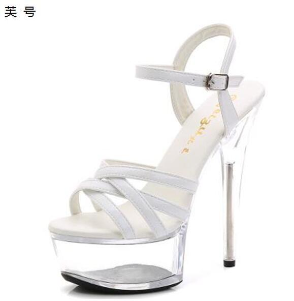 Hot Wedding scarpe Donna Sandalo Clear Tenacity PVC High Heel 15CM
