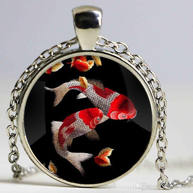 New fashion koi fish necklace chinese carp asian art pendant new fashion koi fish necklace chinese carp asian art pendant necklace fish gift glass photo necklace necklace fashion pendant online with 629piece on aloadofball Image collections