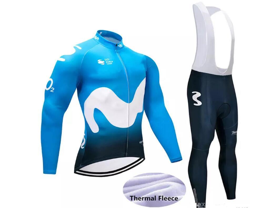 982c87ecf 2018 Movistar Pro Cycling Jersey Long Sleeve Winter Fleece Maillot Bicycle  Sportwear Cycle Clothing Mtb Bike Cycling Jacket 9D Pad Cycle Wear Cycling  ...