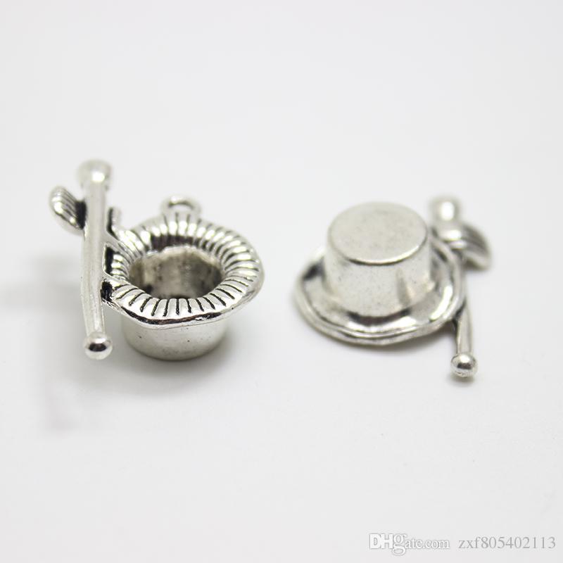 15 adet / grup 28x21mm Antik gümüş ton Sihirbazın Şapka charm Değnek ve Eldiven charm kolye Diy Takı için