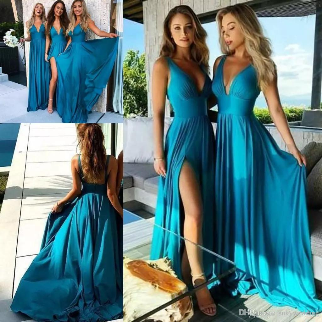 aa532cd5bb Deep V Neck Bridesmaid Dresses Side Split Backless Pleats Chiffon Maid Of  Honor Dresses Bohemian Maid Of Honor Gowns Long Floor Length Stylish  Bridesmaid ...