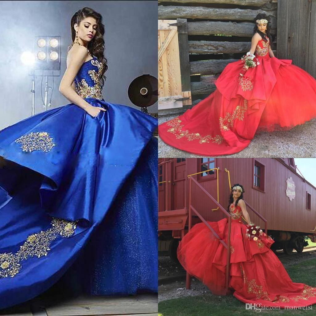 bae11360599 Royal Blue Red Ball Gown Quinceanera Dresses Sweetheart Embroidery  Appliques Beading Gold Satin Tulle Luxury Sweet 16 Dresses Sweep Train  Zebra Print ...