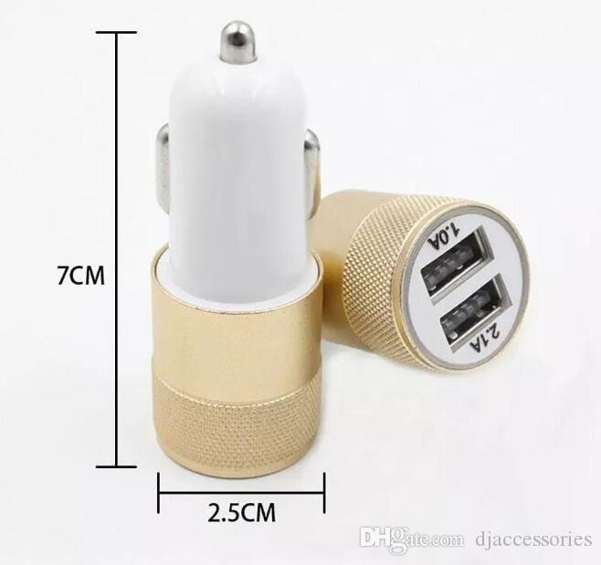 Cargador de coche USB con 12 voltios, 1-2 amperios, metal, cargador de coche dual USB 2 Adaptador de coche USB para iPhone / Samsung Galaxy / Android / HTC