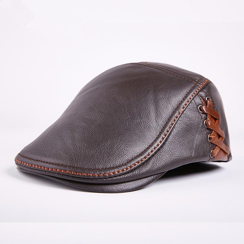 2019 Autumn Winter Leather Flat Cap Duckbill Boina Berets Outdoor Mens  Tourist Cap Special Counter 3 Colours H78 From Fashionmemories 311d5b9fdf4