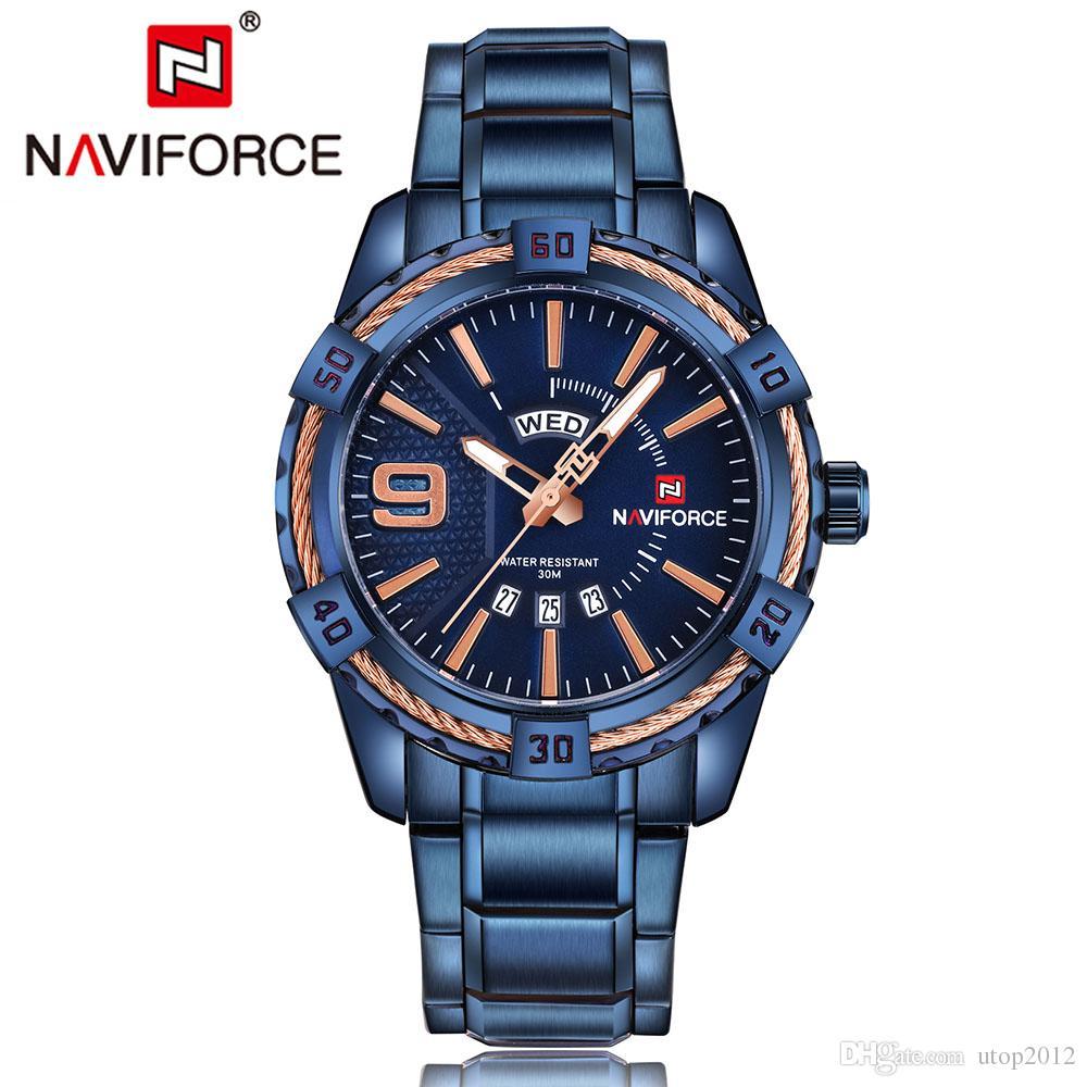 a48229ac632 Compre DHL NAVIFORCE Top Marca De Luxo Homens Relógios Data Azul À Prova D   Água Data Quartz Assista Man Aço Esporte Relógio De Pulso Dos Homens  Relógio ...