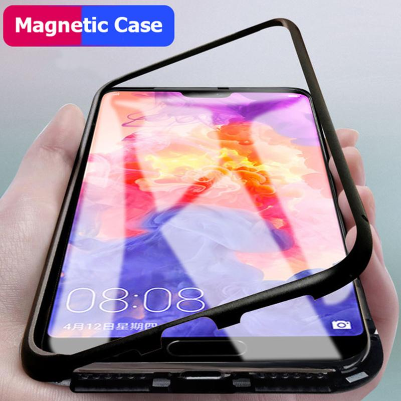 more photos f5f9d 0d505 Magnetic Adsorption Glass Case For Huawei P20 Pro Clear Tempered Glass  Metal Frame For Huawei Mate 20 Lite Honor 8X Max Case
