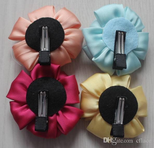 8cm satin fabric rose clip flowers for girls hair accessories,lined alligator hair clip flowers for Baby kids