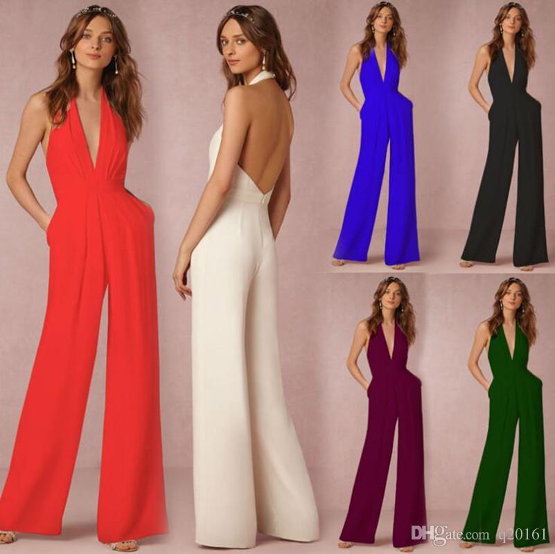 뜨거운 판매 여성 섹시한 점프 슈트 복장 웨딩 드레스 쉬폰 V 넥 민소매 탑스와 긴 바지 여성용 로퍼