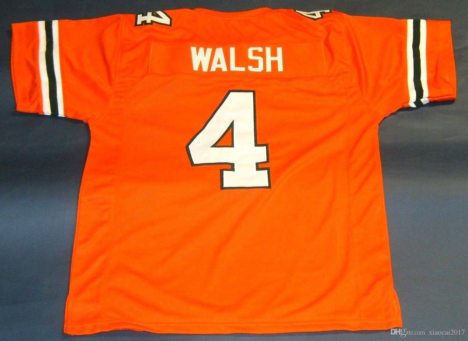 best sneakers dae8f 3db26 Cheap retro STEVE WALSH CUSTOM UNIVERSITY OF MIAMI HURRICANES JERSEY orange  Mens Stitching Size S-5XL Football jerseys