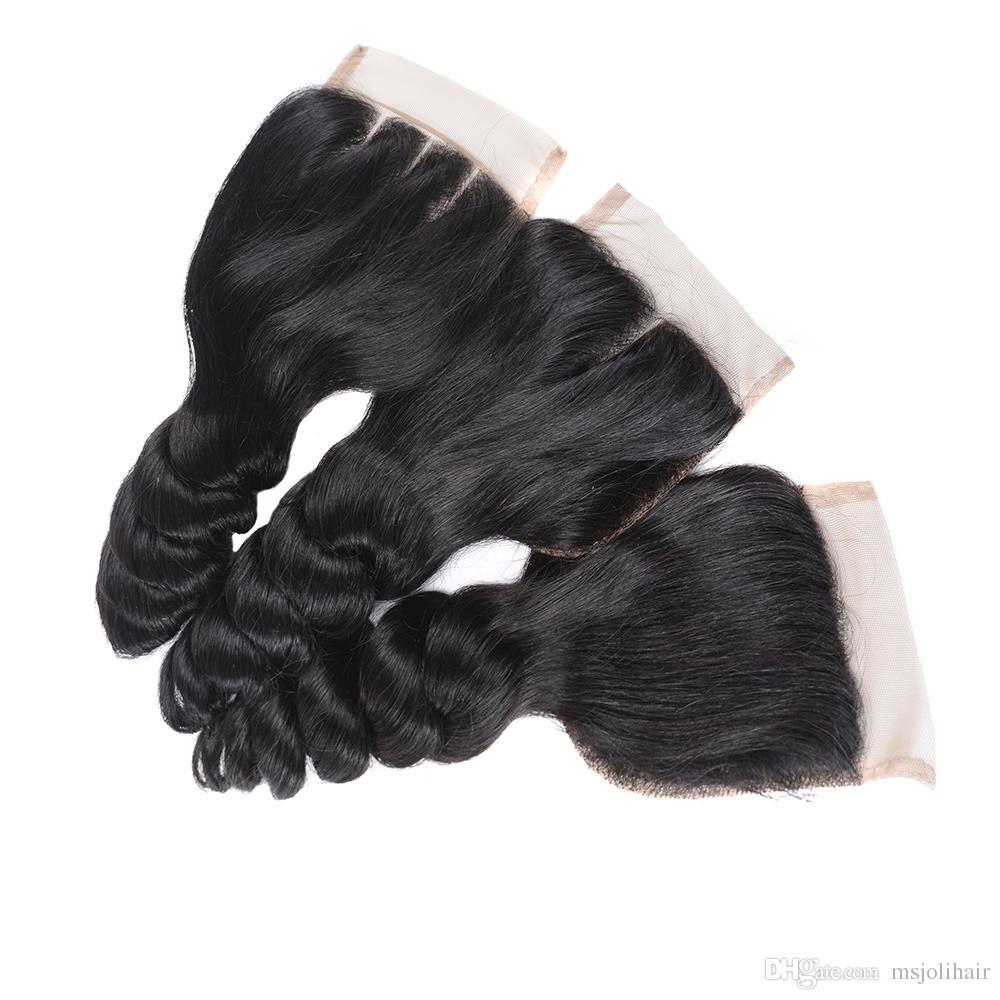 Бразильский Virgin Human Плетение волос Затворы Объемная волна Свободная волна Глубокая волна прямая Kinky прямая Natural Black Lace 4x4 Затворы Ms Joli