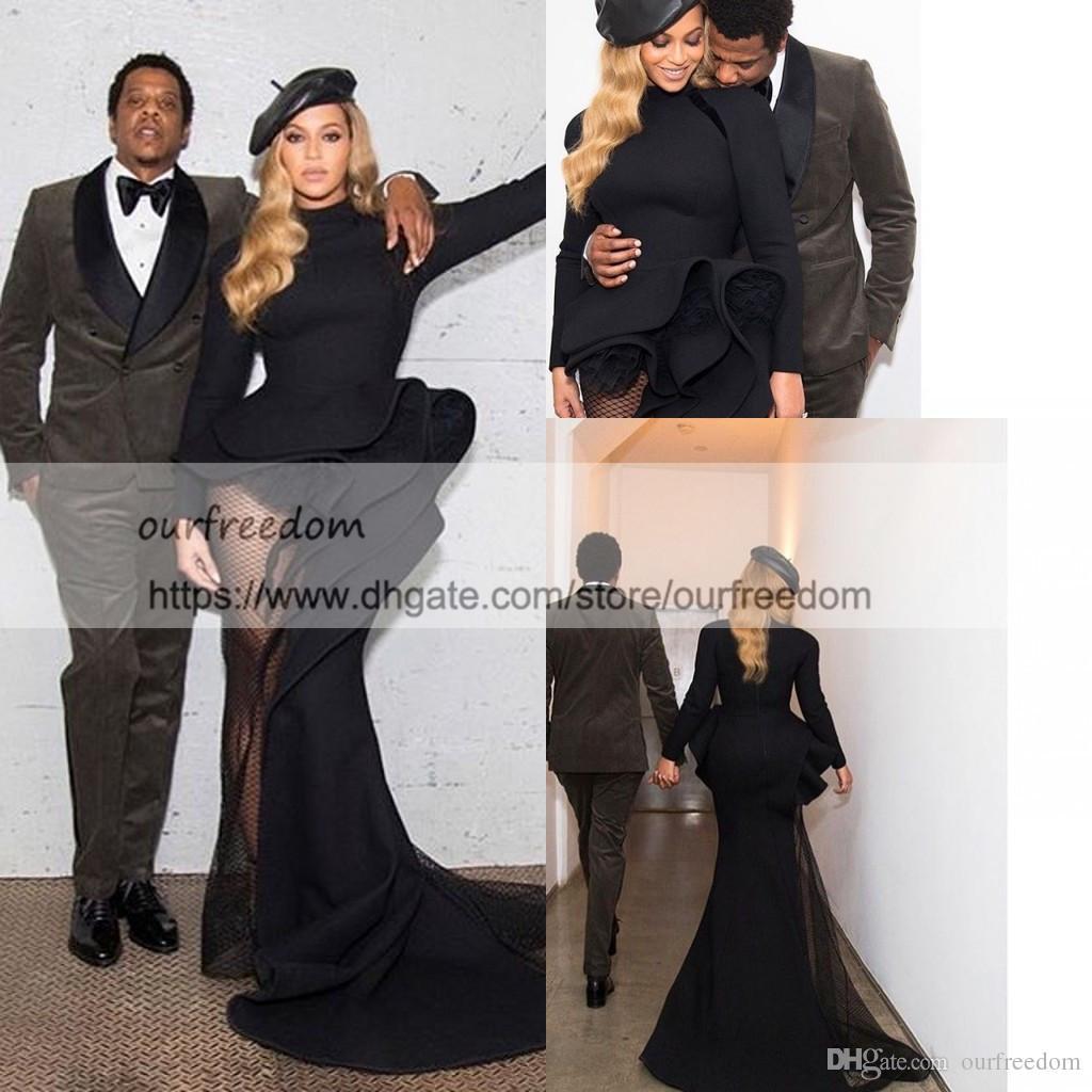 Vestidos de fiesta negros africanos Sirena 2019 Peplum Side Split Vea a lo largo estilo del sur Vestidos ocasionales de noche Vestido de fiesta de manga larga