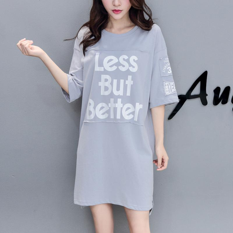 Summer Korean Fashion Maternity Long T-shirts Letter Printed Cotton Tees for Pregnant Women Loose Pregnancy Tops T Shirts