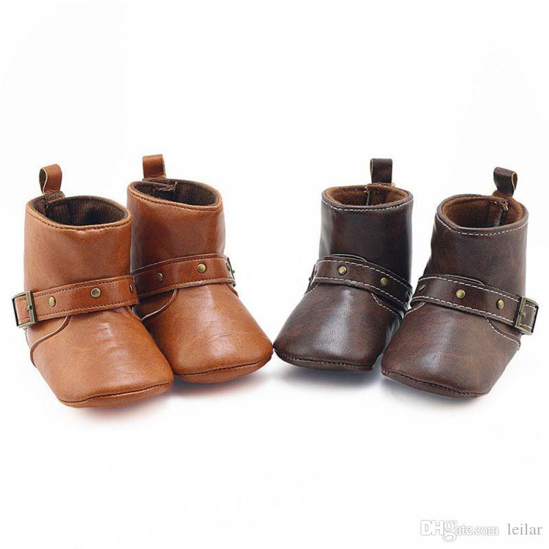 40a05365381 2019 2017 New Brown Baby Classic Cowboy Boots PU Buckle Soft Soled Baby  Girl Boy Winter Boots Infant Toddler Shoes First Walkers From Leilar