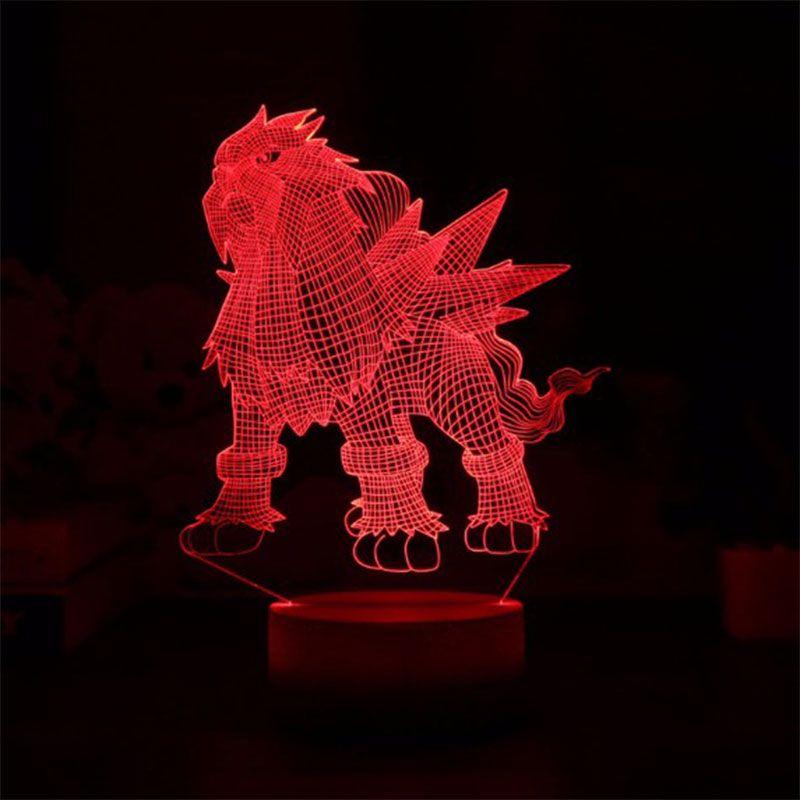 Hot Sale Cartoon LED 3D Entei Night Light RGB Mood 3D Table Lamp for Home Decor Sensor Light